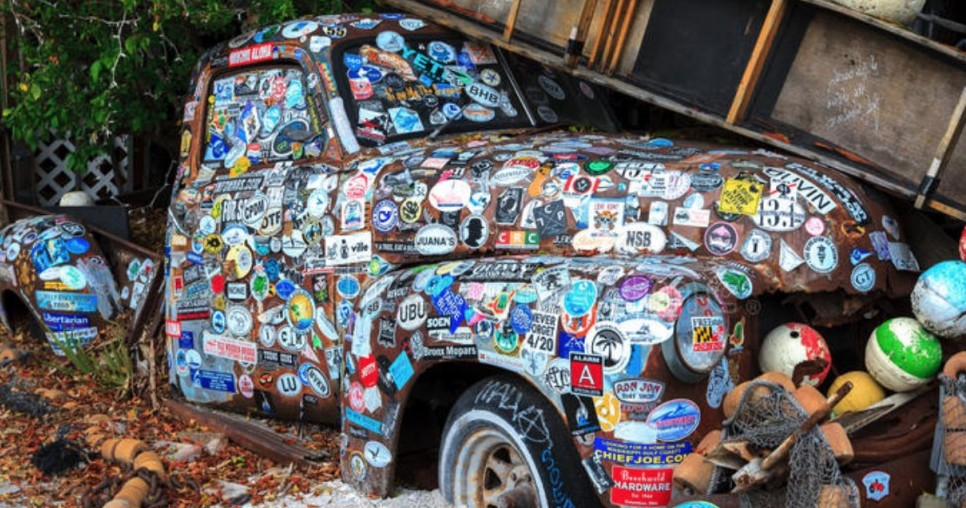 Old Truck with Stickers
