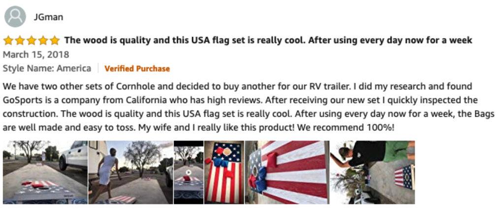 Amazon User Review of GoSports Flag Series Wood Cornhole Set